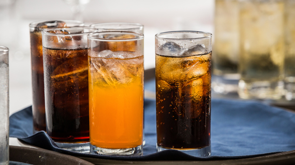 photo of soft drinks on tray