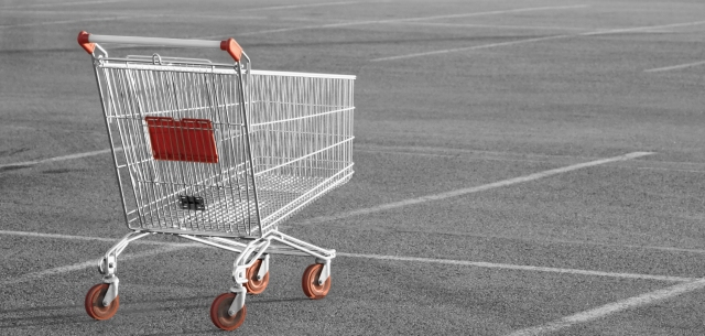 photo of shopping cart in parking lot