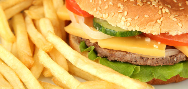 picture of hamburger and fries