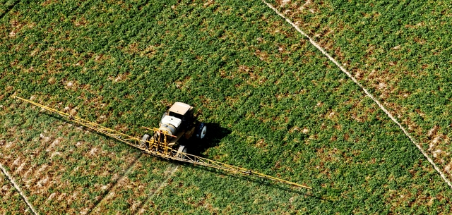 aerial view of crop sprayer