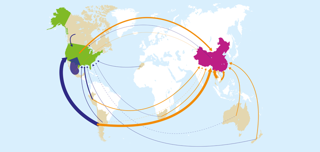 map with world fruit and vegetable trade flows