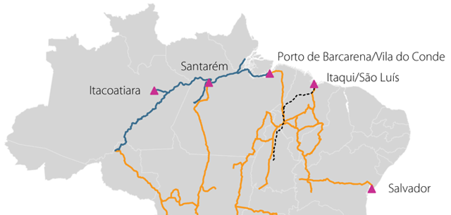 map of brazilian barge transport
