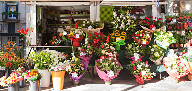 photo of European flower stall