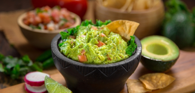this the picture of guacamole and an avocado