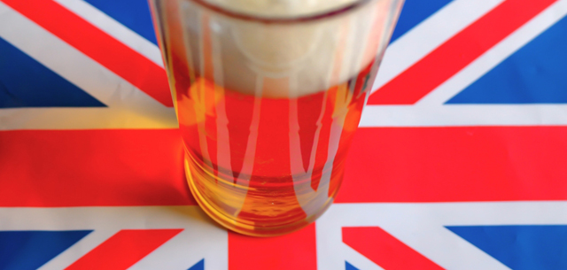 picture of a pint on top of the Union Jack